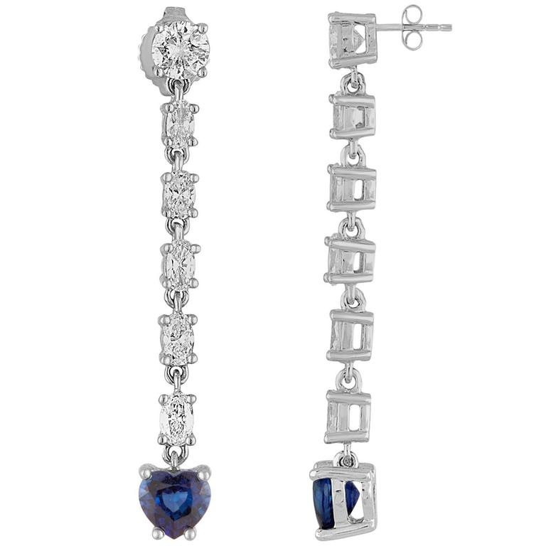 1.74 Carats Sapphire Diamond Heart Long Dangle Gold Earrings