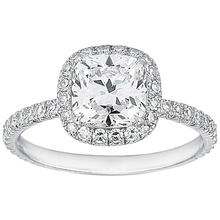 Square Cushion Cut Engagement Ring For Sale at 1stdibs