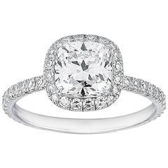 Marisa Perry Micro Pave 1.54 Carat Cushion Cut Diamond Engagement Ring