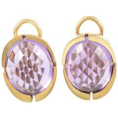 Calderoni Amethyst Gold Huggie Earrings