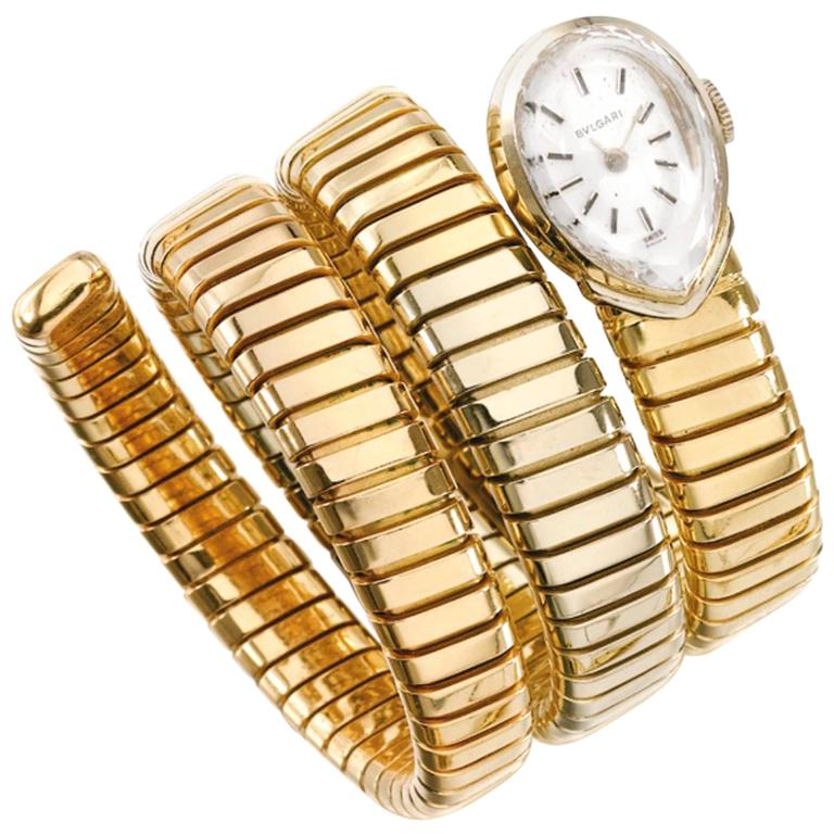 Bulgari Lady's Yellow Gold Juvenia Movement Pear Shaped Tubogas Wristwatch  For Sale