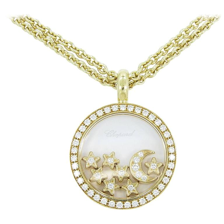 Chopard happy diamond moon and stars necklace at 1stdibs chopard happy diamond moon and stars necklace for sale aloadofball Image collections