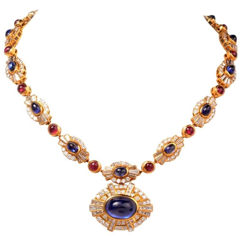 Ruby Sapphire Diamond Gold Choker Necklace For Sale