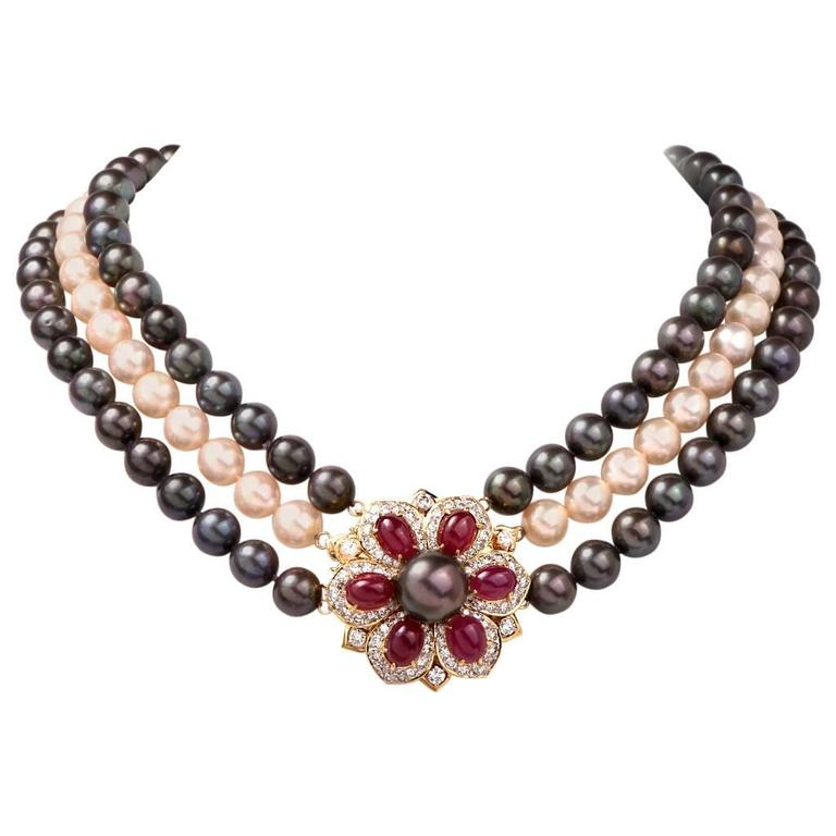 Multi Strand Pearl Ruby Diamond Necklace Clasp Pin Brooch