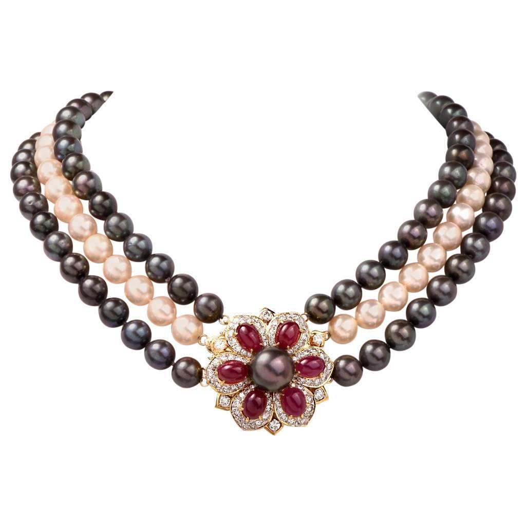 Multi Strand Pearl Ruby Diamond Necklace Clasp Pin Brooch For Sale At  1stdibs