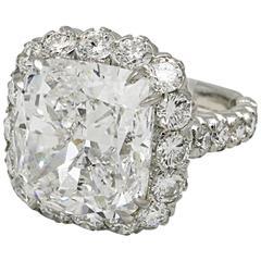 10.03 Carat GIA Cert Cushion Cut Diamond Platinum Engagement Ring Custom Design