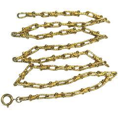 Unique Modernist Link Design Long Gold Necklace Chain