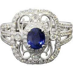 Simon G 1.55 Carats Blue Sapphires Diamond Gold Filigree Duchess Ring
