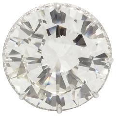 18.26 Carat GIA Cert Round Brilliant Cut Diamond Platinum Ring