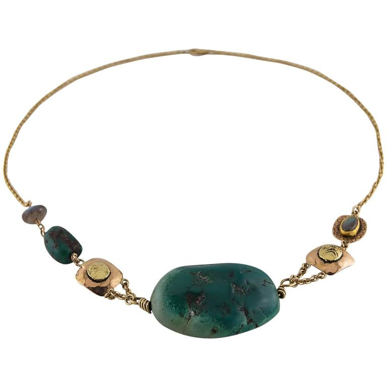 Big Green Turquoise Labradorite Two Color Gold Statement Necklace 1