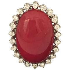 Oxblood Coral Diamond Gold Ring