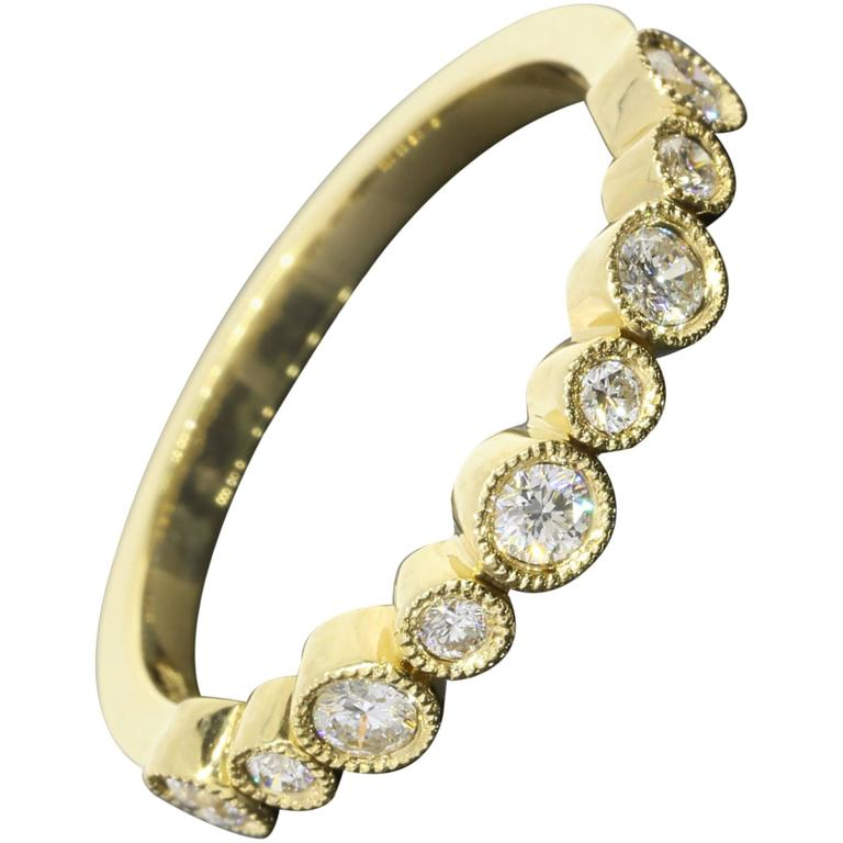 .32 Carat Round Diamonds Gold Bezel Milgrain Wedding Band or Stack Ring