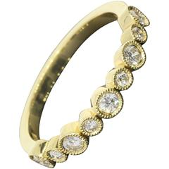 .32 Carats Round Diamonds Gold Bezel Milgrain Wedding Band or Stack Ring