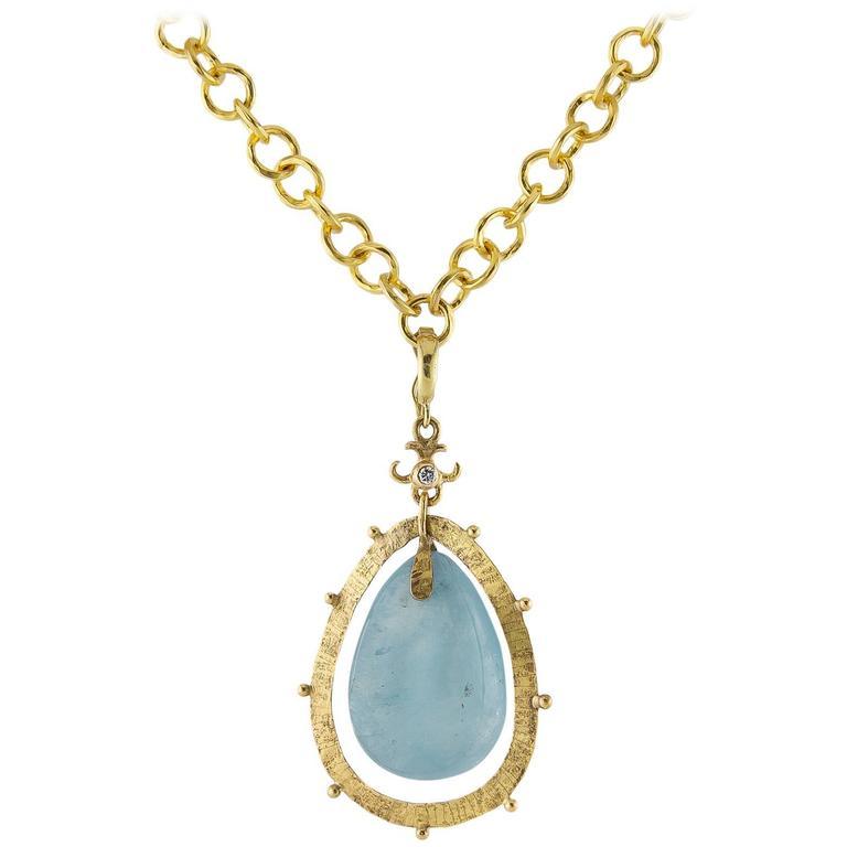 Large aquamarine diamond pendant necklace for sale at 1stdibs large bright aquamarine diamond gold pendant aloadofball Images