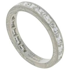 "Hancocks Finely Engraved ""East/West"" French Cut Diamond Platinum Eternity Ring"