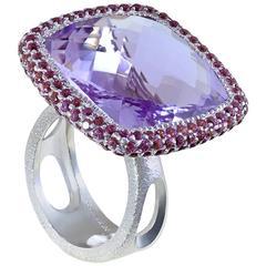 Rose de France Amethyst Rhodolite Garnet White Gold Royal Ring One of a Kind
