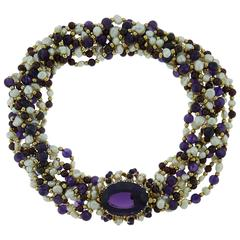Amethyst Garnet Pearl Diamond Yellow Gold Bead Torsade Necklace