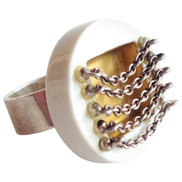 Anton Michelsen Porcelain Sterling Scandinavian Royal Bini Ring For Sale
