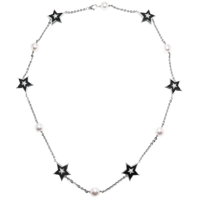 Chanel Onyx Pearl Diamond Gold Stars Necklace