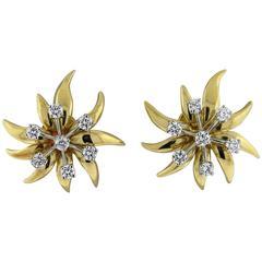 Tiffany & Co. Schlumberger Diamond Gold Platinum Flame Earrings