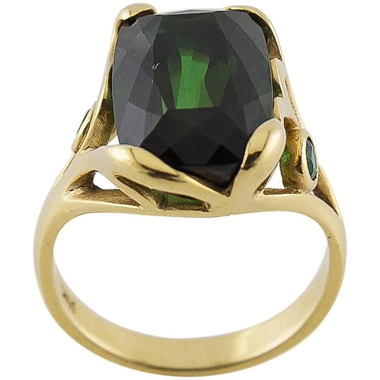 Deep Green Emerald Cut Tourmaline Gold Ring  For Sale