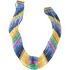 Emerald Sapphire Diamond Multicolor Gold Bead Necklace