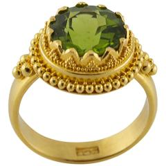 Green Apple Round Peridot Granular Gold Ring