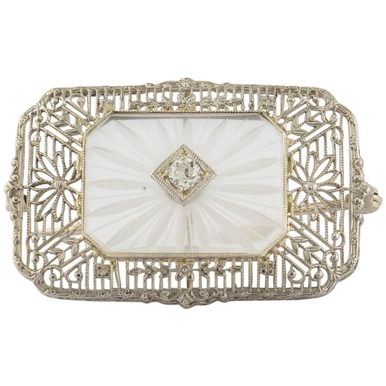 Antique Camphor Glass Diamond Gold Filigree Pin 1930s Art Deco