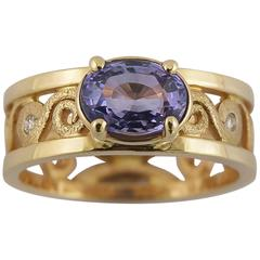 Purple Indigo Sapphire Diamond Gold Ring with Spirals