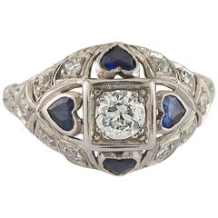 Antique Sapphire Diamond Heart Ring with Diamond Pave and Platinum Filigree