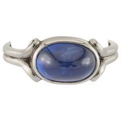 4.0 Carats Blue Sapphire Cabochon Platinum Ring