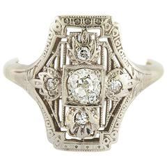 Art Deco Diamond Gold Ring, 1930s