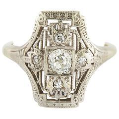 Art Deco Diamond Gold Ring, 1930s
