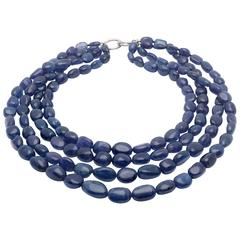 Four Row Natural Tanzanite Necklace