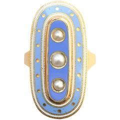 Blue Enamel Pearl Gold Mourning Ring