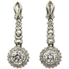 1950s Diamond Platinum Dangle Drop Earrings