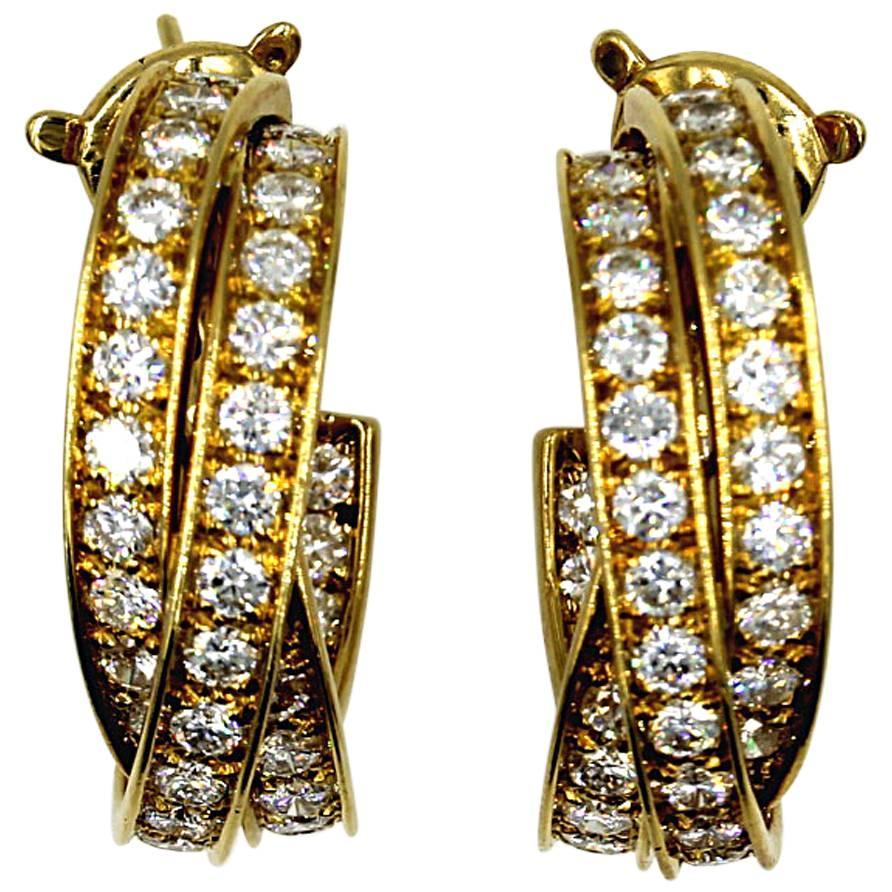 Cartier 5-Carat Diamond 18 Karat Yellow Gold Trinity Hoop Vintage Earrings