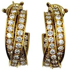 Cartier 5-Carat Diamond 18 Karat Yellow Gold Trinity Hoop Earrings