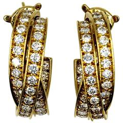 Cartier 5-Carat Diamond 18 Karat Yellow Gold Trinity Hoop Earrings