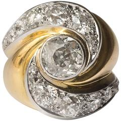 "1945 Suzanne Belperron Diamond Gold Platinum  ""Heureux"" Ring"