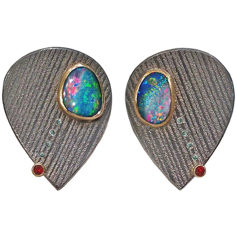Atelier Zobel Opal Ruby Blue Diamond Silver Gold Platinum Clip Earrings For