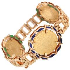 1960s Reversible Islamic Coins Enamel 22K Gold Bracelet