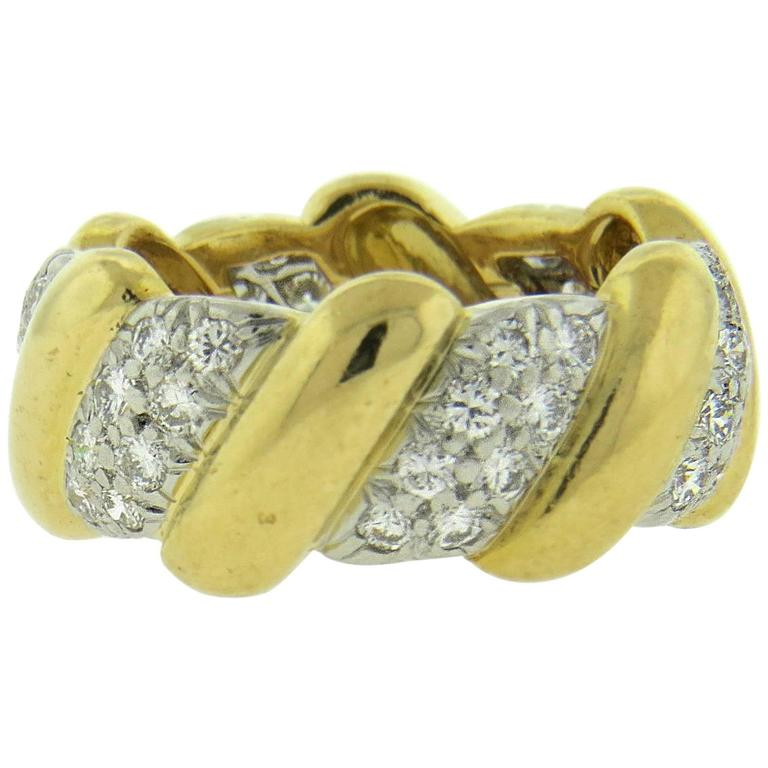 david webb gold platinum wedding band ring at 1stdibs