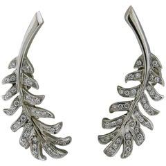 Chanel Diamond Gold Feather Earrings