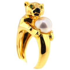 "Cartier Black Onyx Pearl Garnet Gold ""Panthere"" Ring"