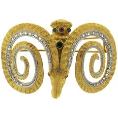 Zolotas Large Emerald Ruby Diamond Gold Ram's Head Brooch Pin