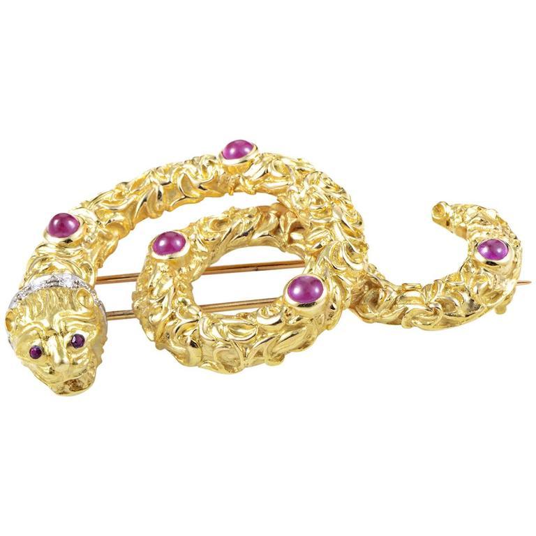 Ilias Lalaounis Ruby Diamond Multi-Color Gold Snake Pin 1