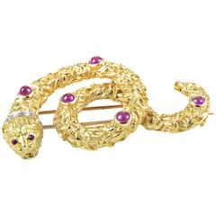 Ilias Lalaounis Ruby Diamond Multi-Color Gold Snake Pin