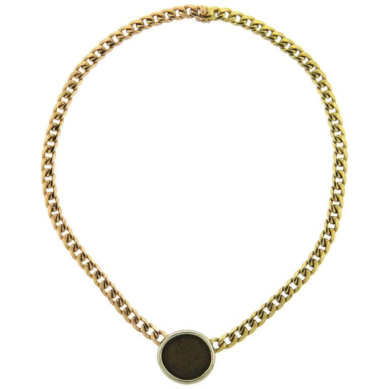 Bulgari Tricolor Gold Roman Empire Ancient Coin Necklace For Sale