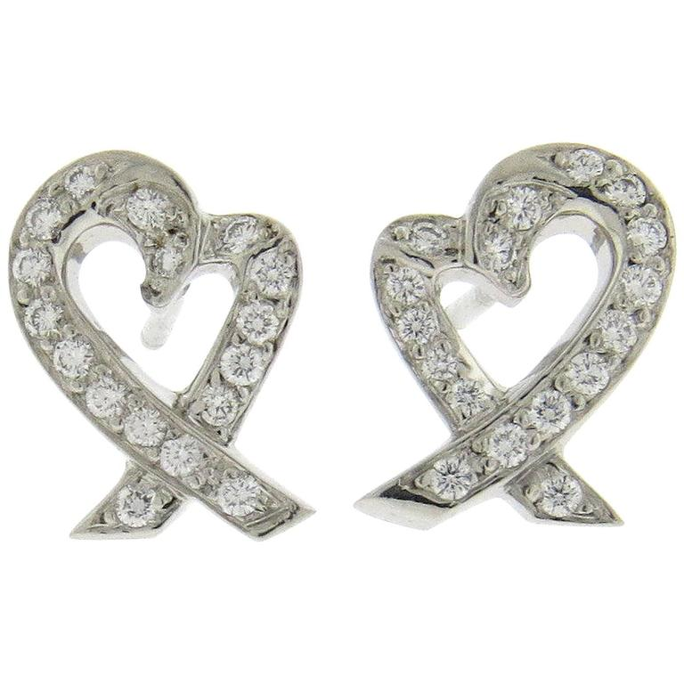 aa353b17f Tiffany & Co. Paloma Picasso Loving Heart Diamond Platinum Earrings For Sale